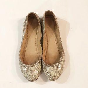 Frye Cracked Metallic Carson Ballet Flats